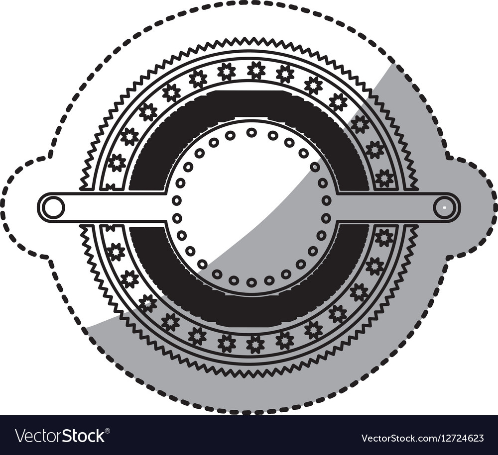 Sticker Of Stamp Circular Art Deco Emblem Vector Image
