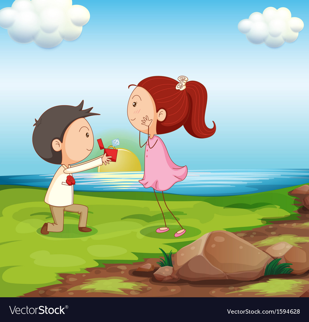 A boy making a marriage proposal at the riverbank