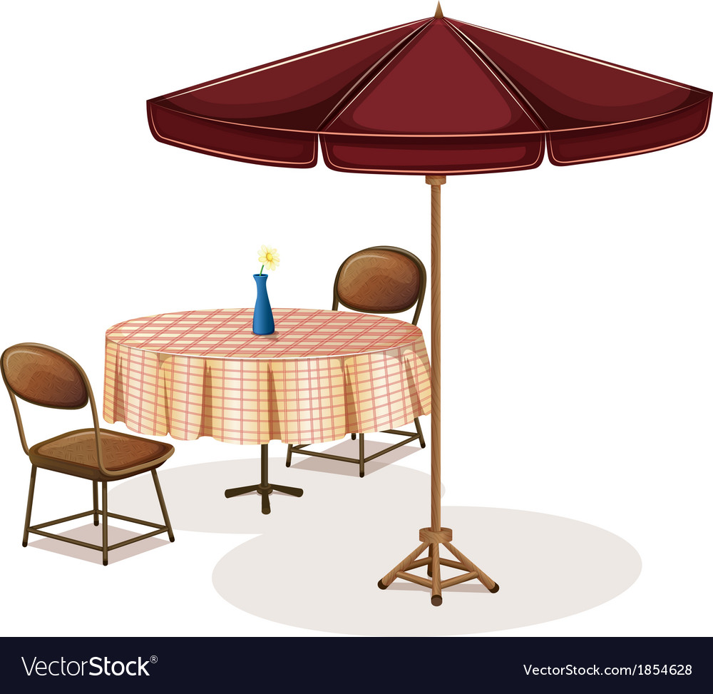 A table with an umbrella in a cafe vector image