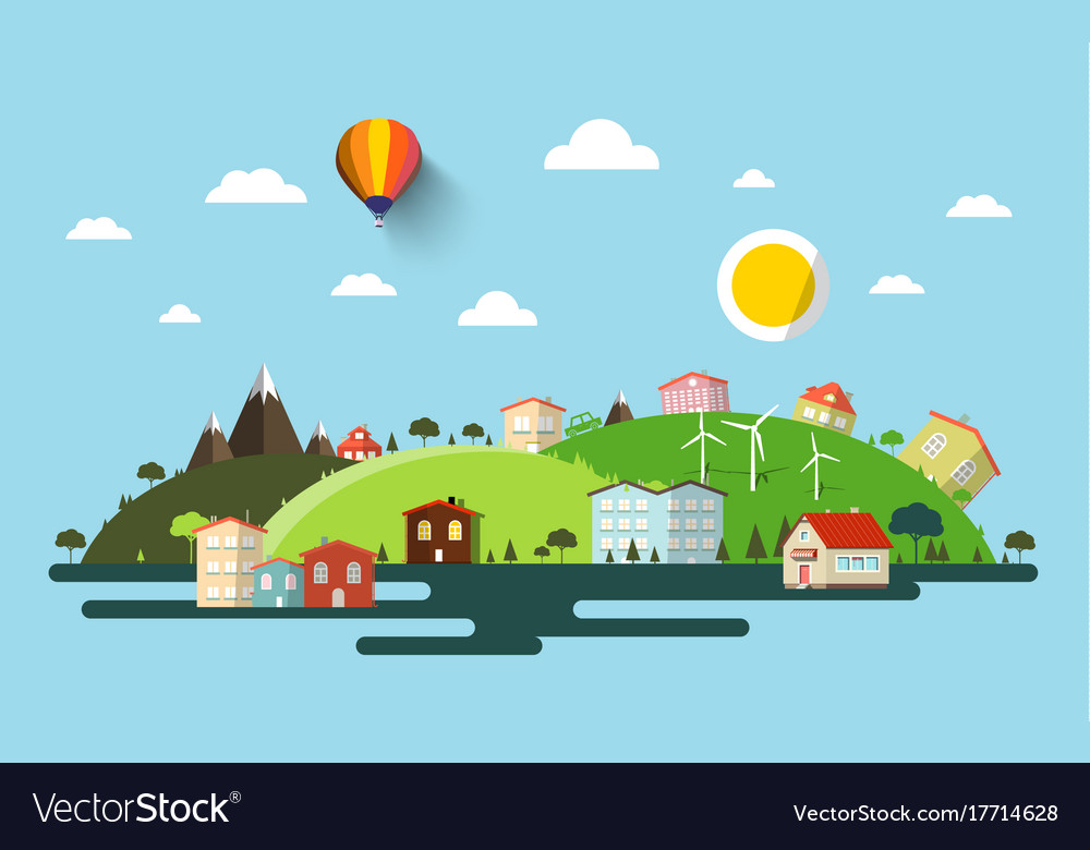 Abstract flat design natural scene town