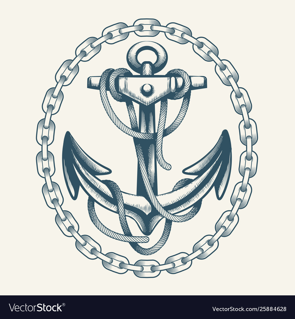 Anchor with ropes in circle chain