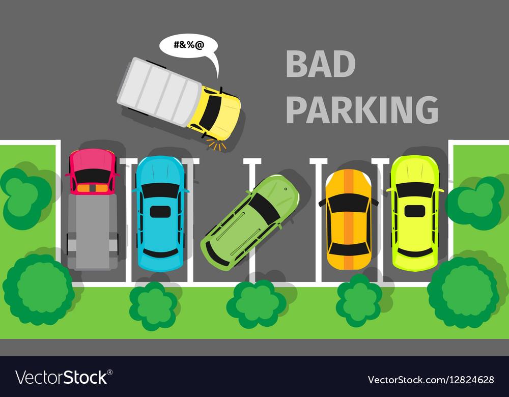 Bad Parking Top View vector image