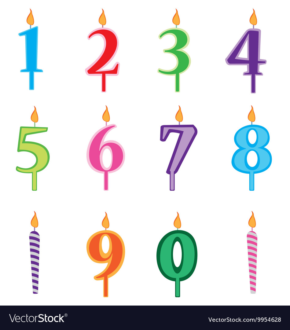 Birthday Candles Cartoon Numbers Set Vector Image