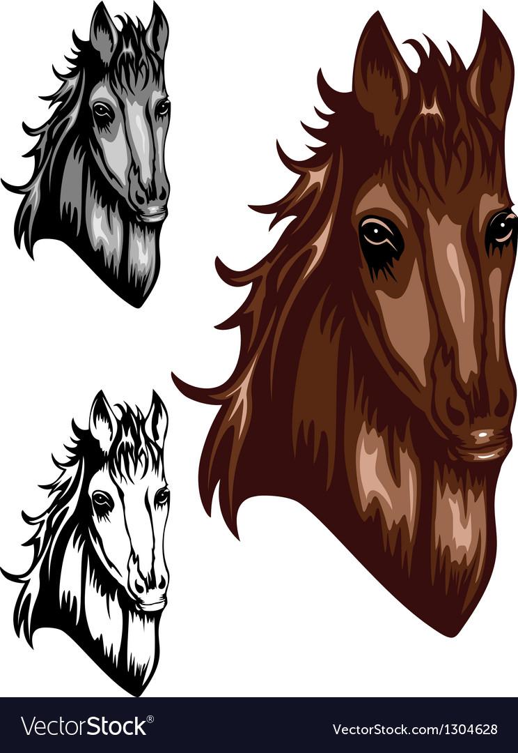 Horse color set vector image