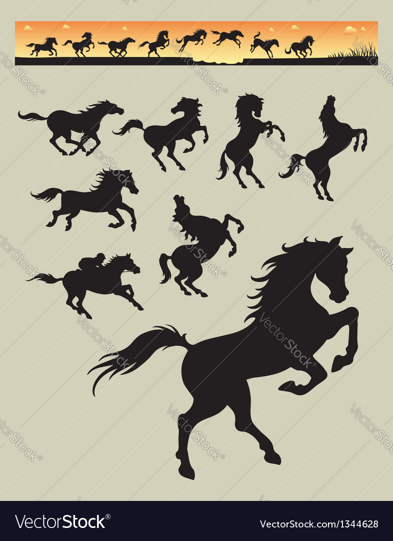 Horse Running Silhouettes 1