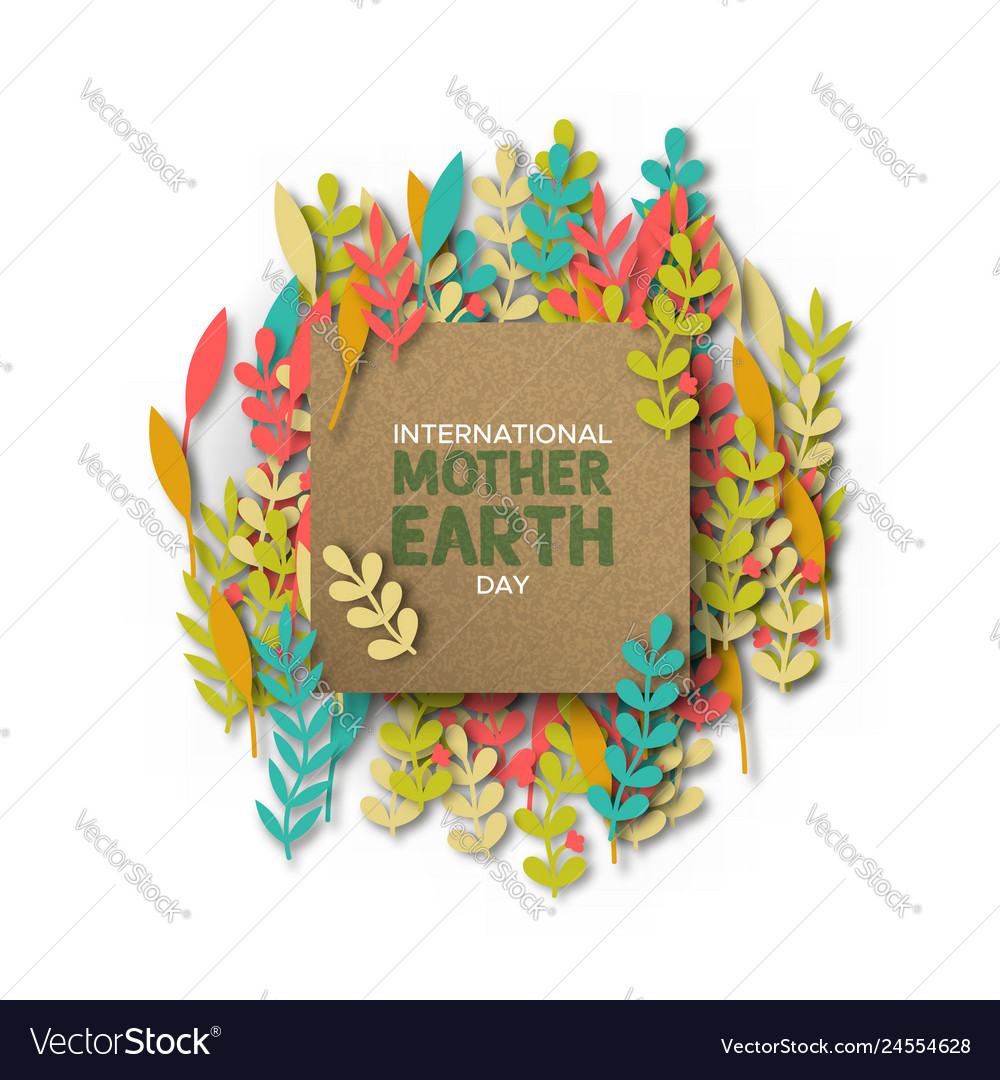 Mother earth day card of recycled paper cut leaves