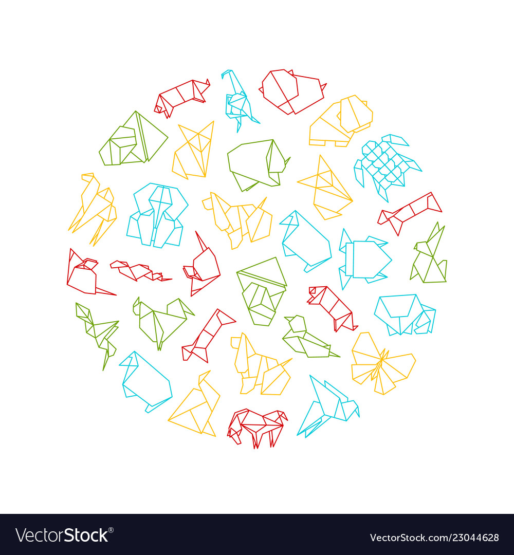 Origami signs thin line round design template ad