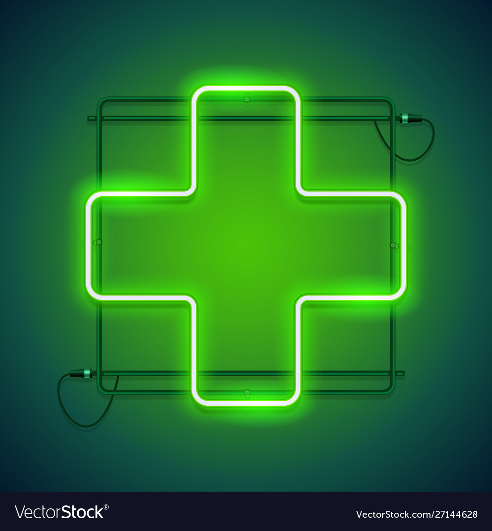 Pharmacy neon sign with a green cross