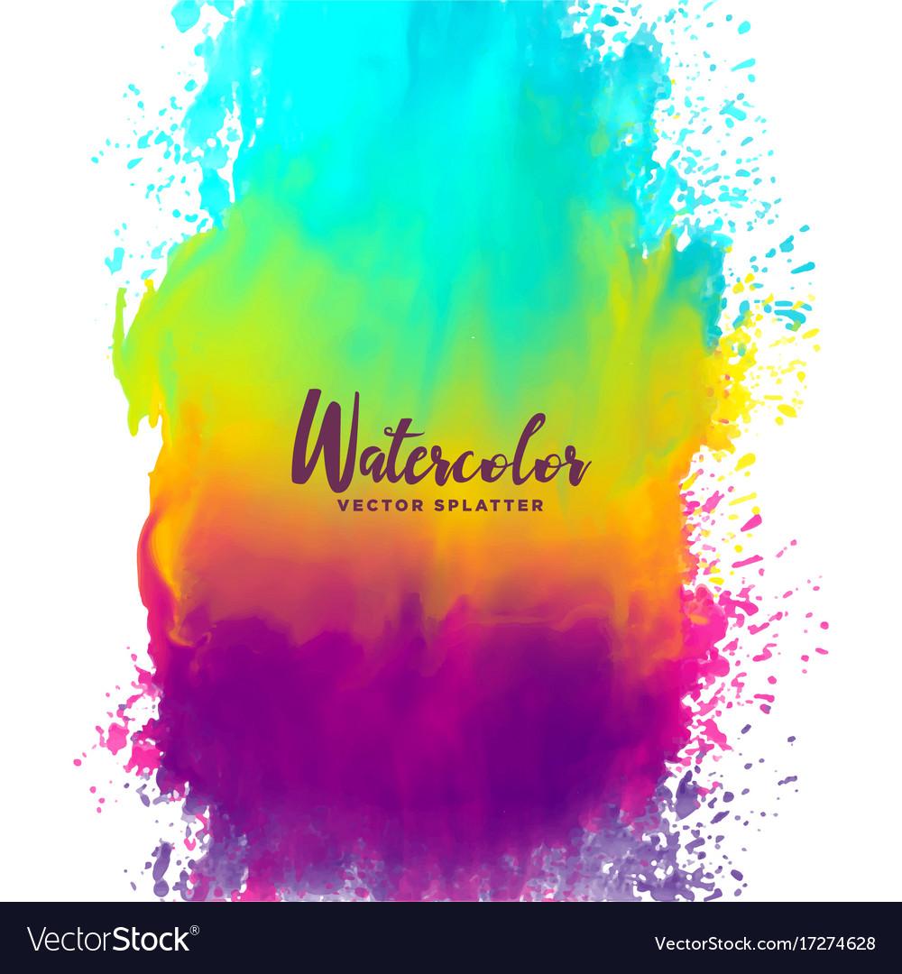 Rainbow color watercolor splash stain background vector image