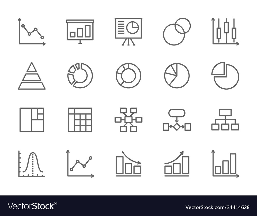 Set of graph and chart line icons pie chart