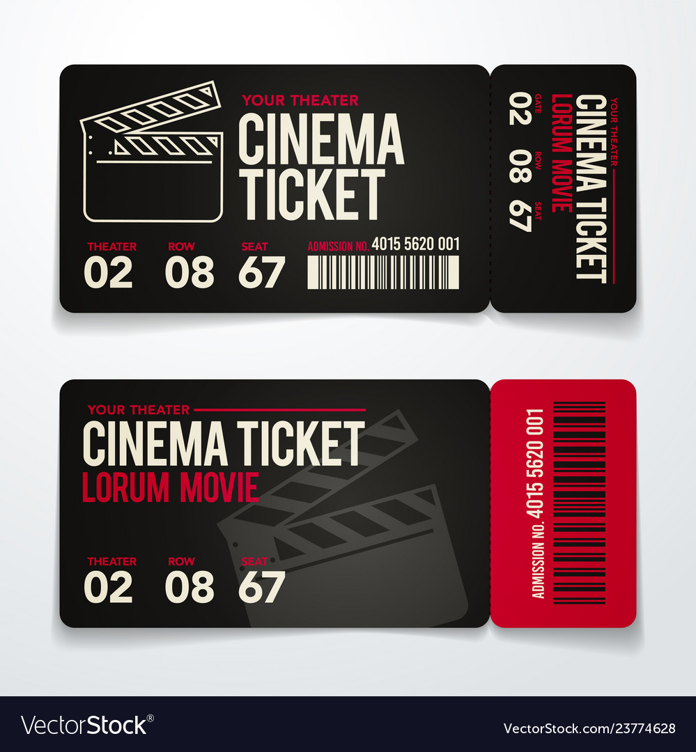 Two Cinema Tickets Design Template Set Royalty Free Vector