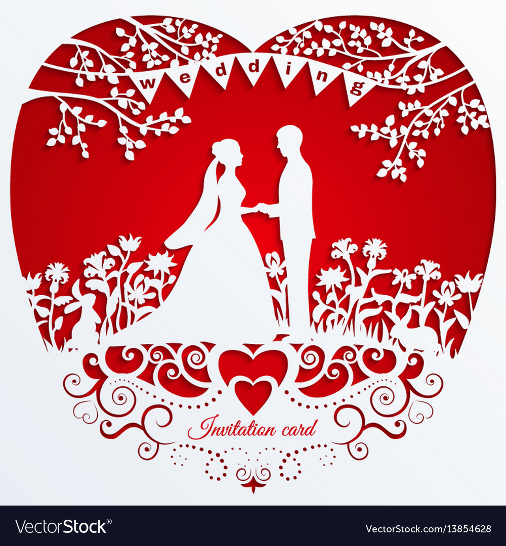 Wedding romantic invitation card with silhouette