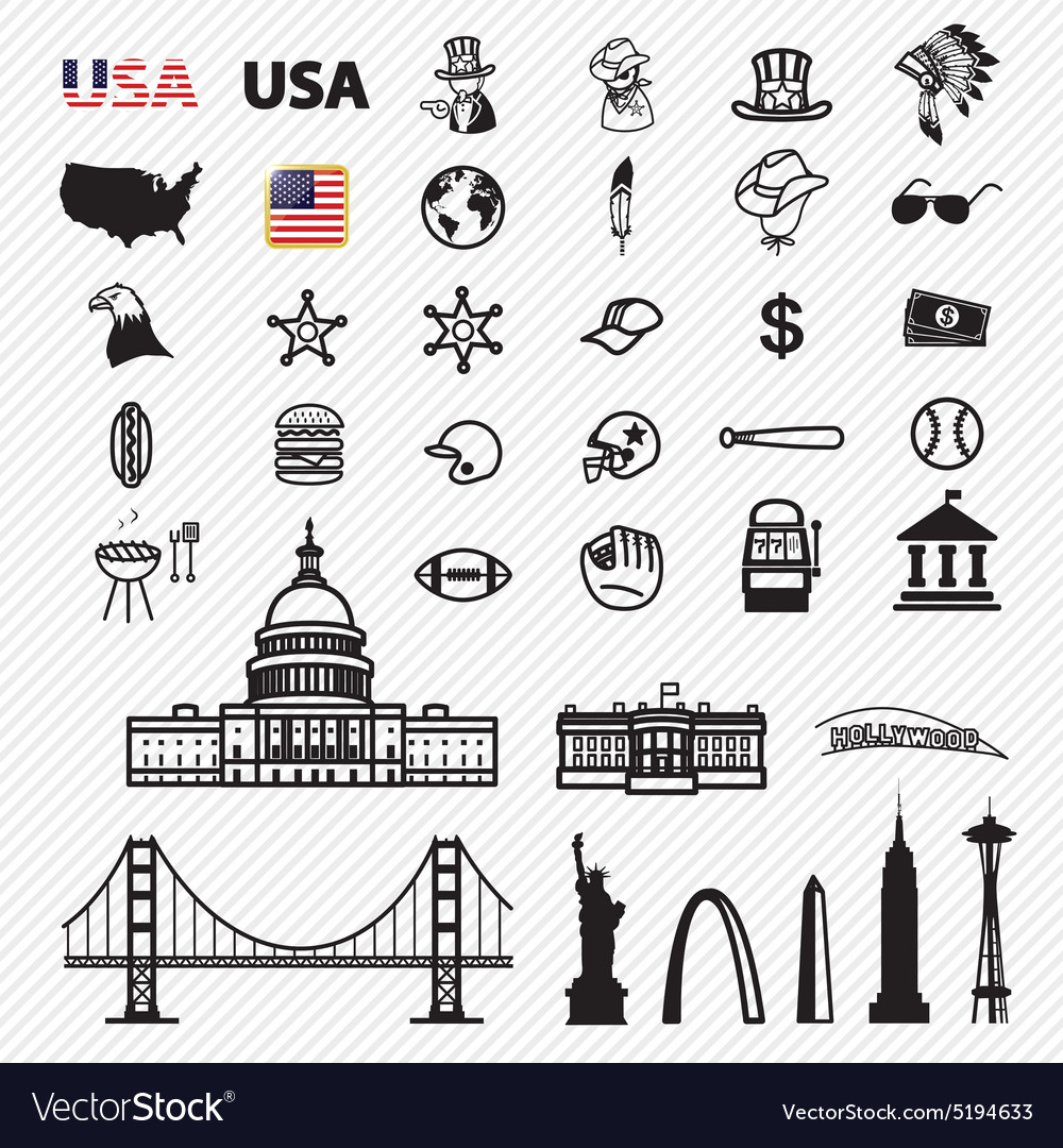 America icons set vector image
