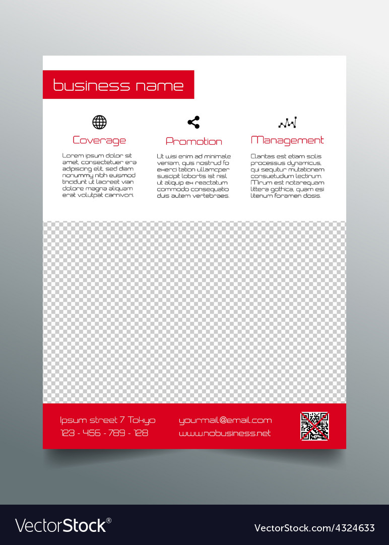 business flyer design simple red minimalistic vector image