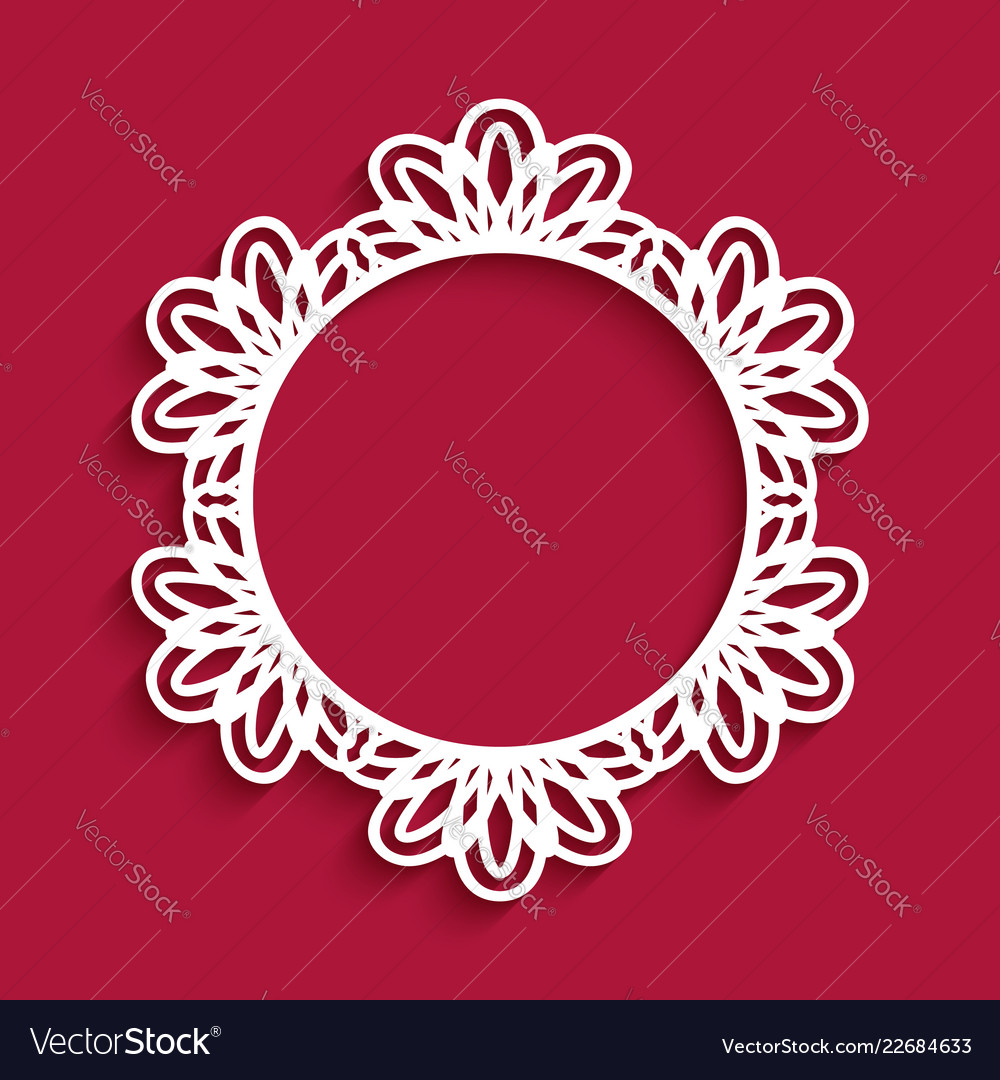 Circle frame with cutout lace border pattern