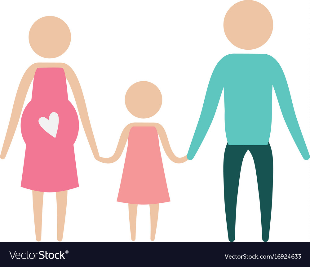 Color silhouette pictogram parents with mother
