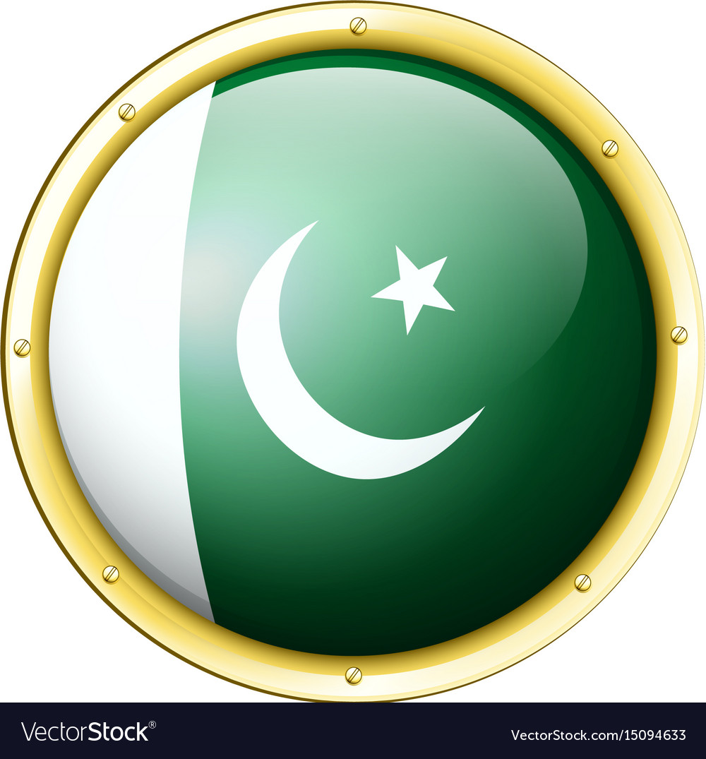flag of pakistan on round badge royalty free vector image
