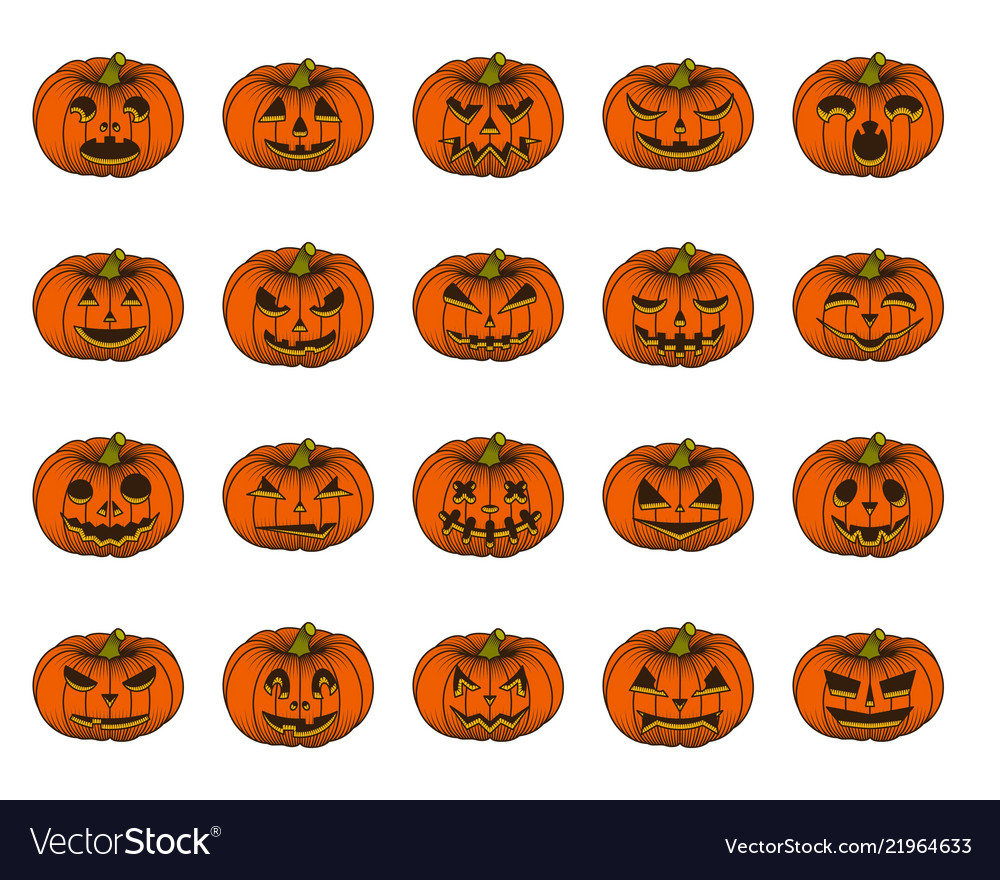 Halloween pumpkin set isolated on white background