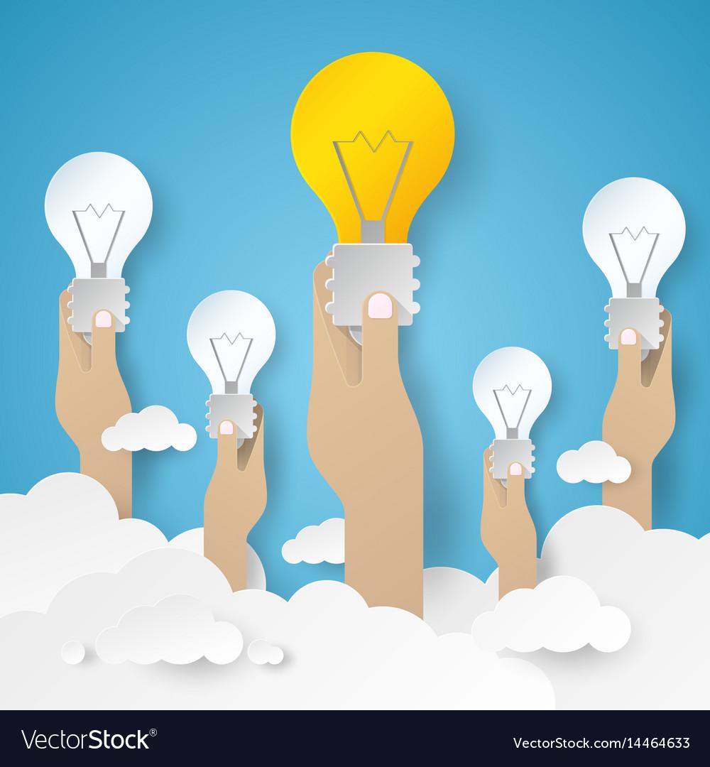 Hand holding light bulb idea concept vector image