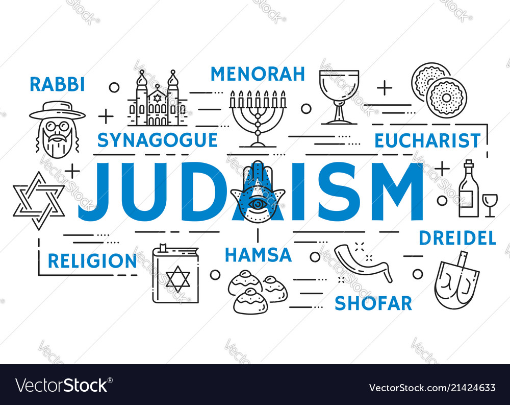 Judaism religion symbols thin line icons