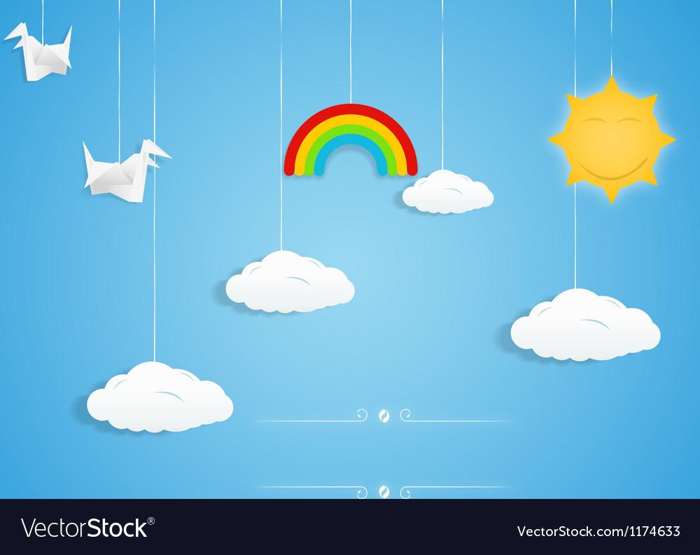 Rainbow clouds birds and sun toys vector image