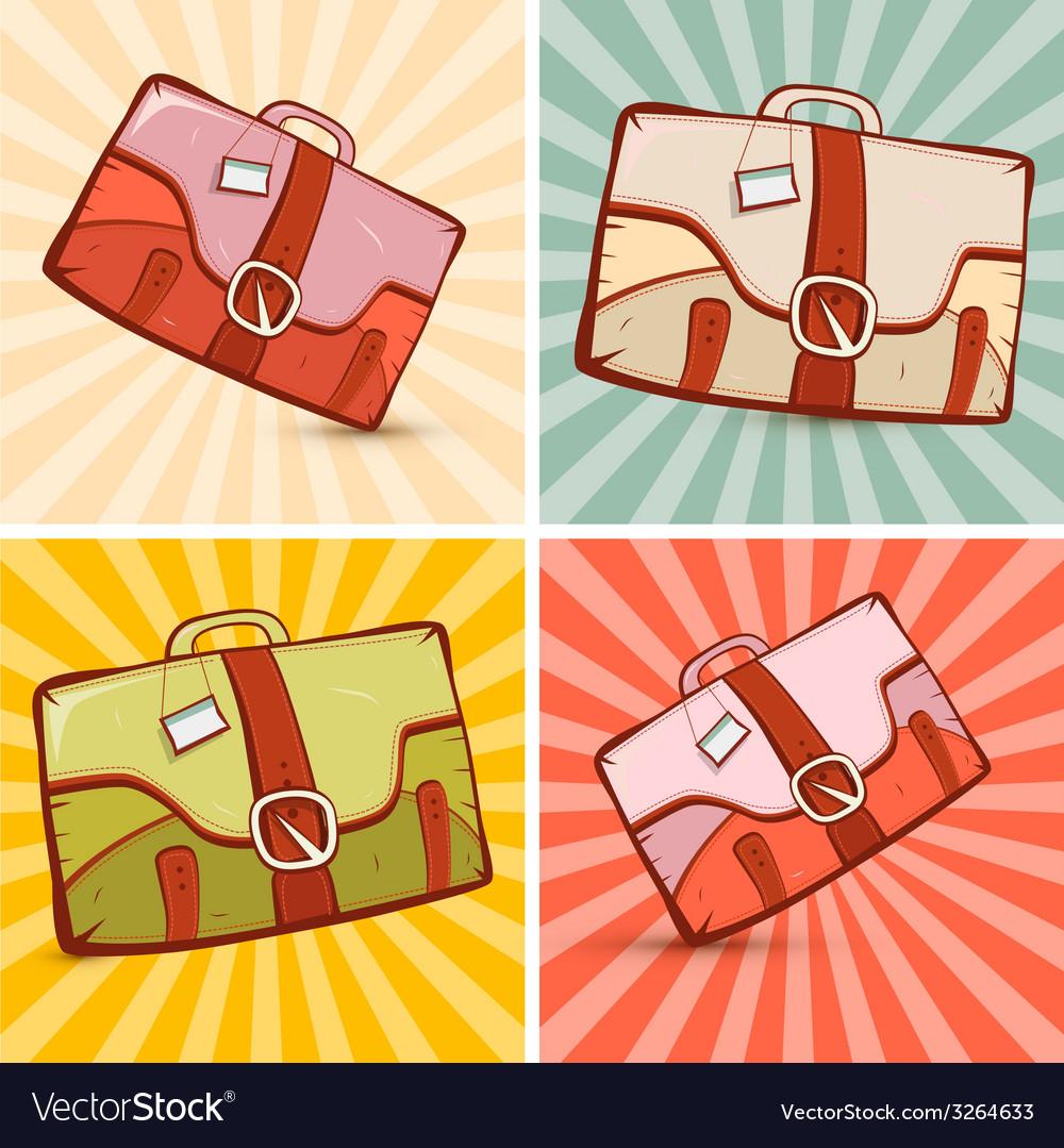 Retro Suitcase Set on Vintage Background vector image