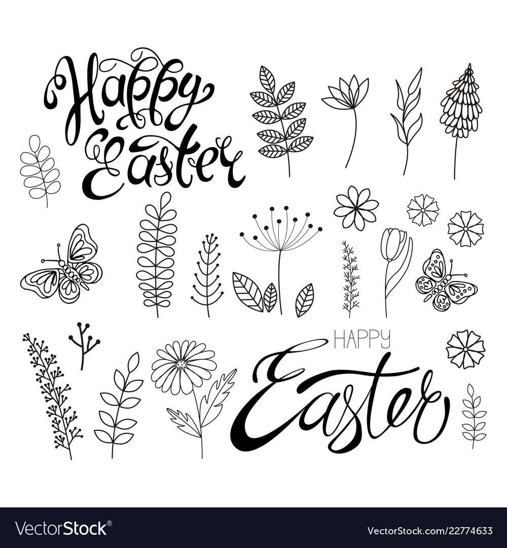 Set flowers and grass calligraphic happy easter