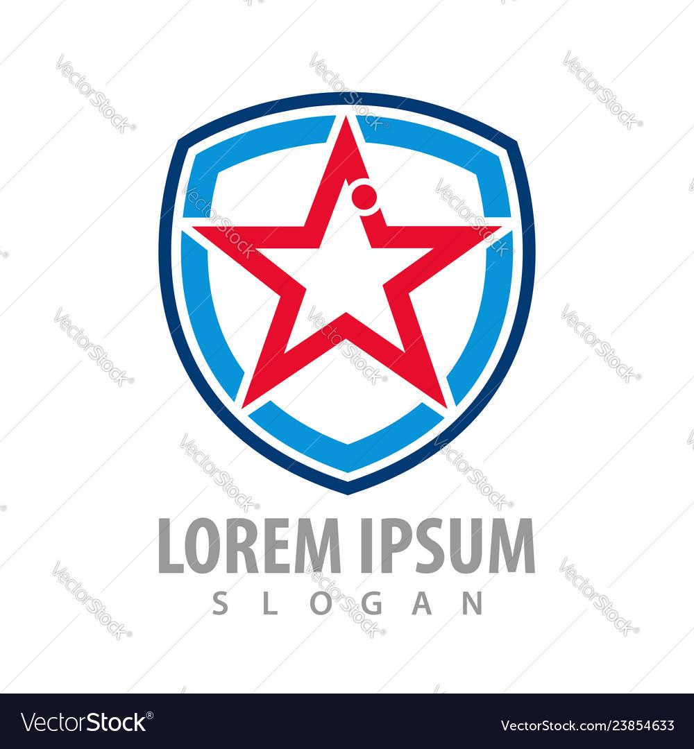 Star shield line logo concept design symbol