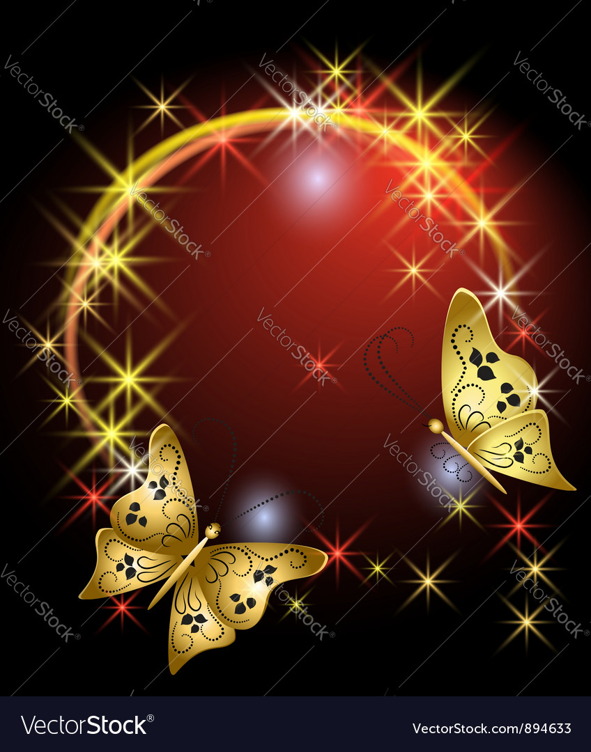 Stars and butterflies vector image