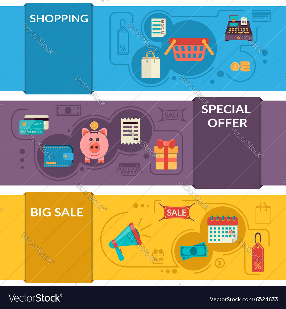 Three horizontal banners with shopping icons in