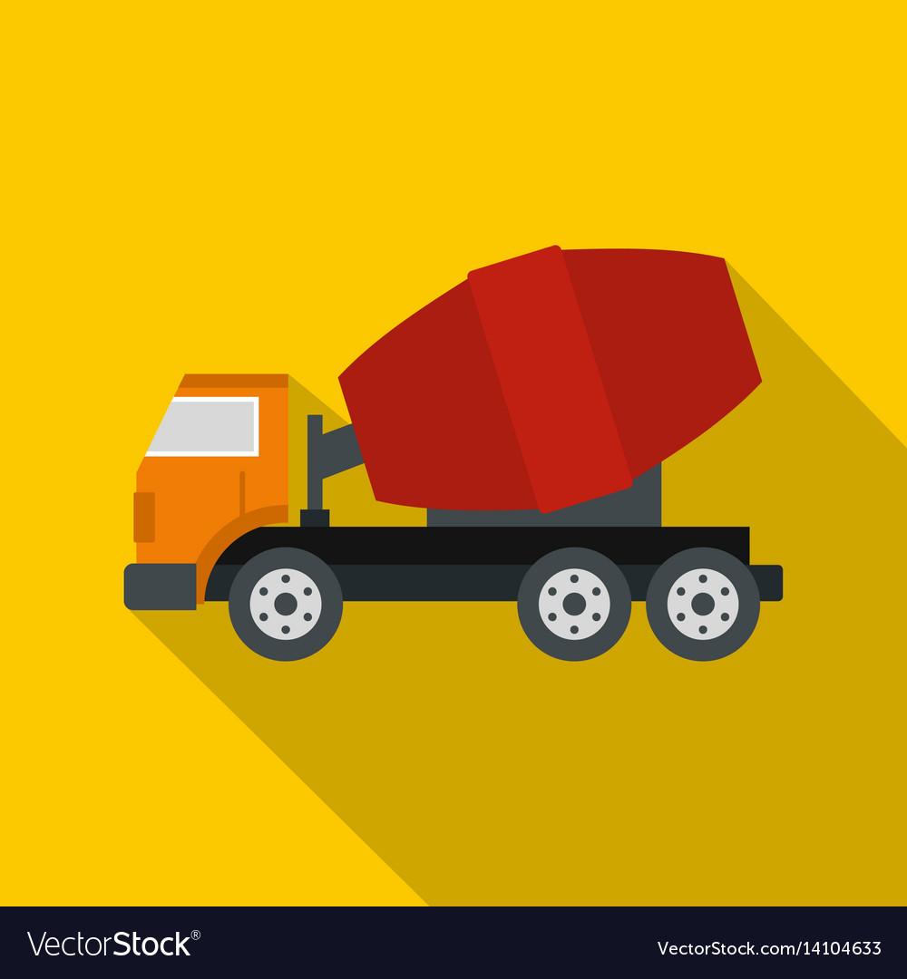 Truck concrete mixer icon flat style