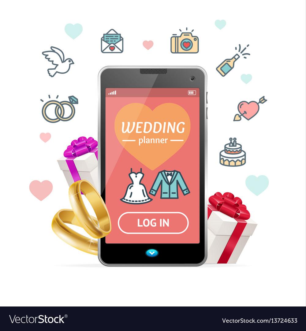 Wedding Planner App.Wedding Planner Concept Mobile Phone App