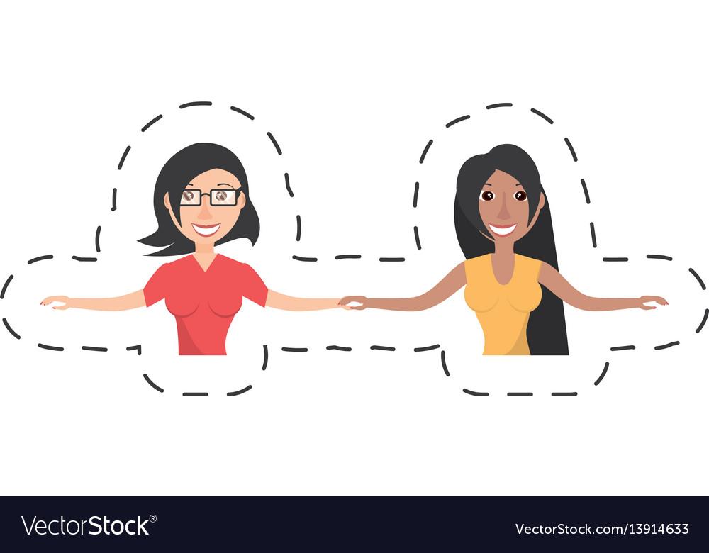 Women friends dancing party vector image