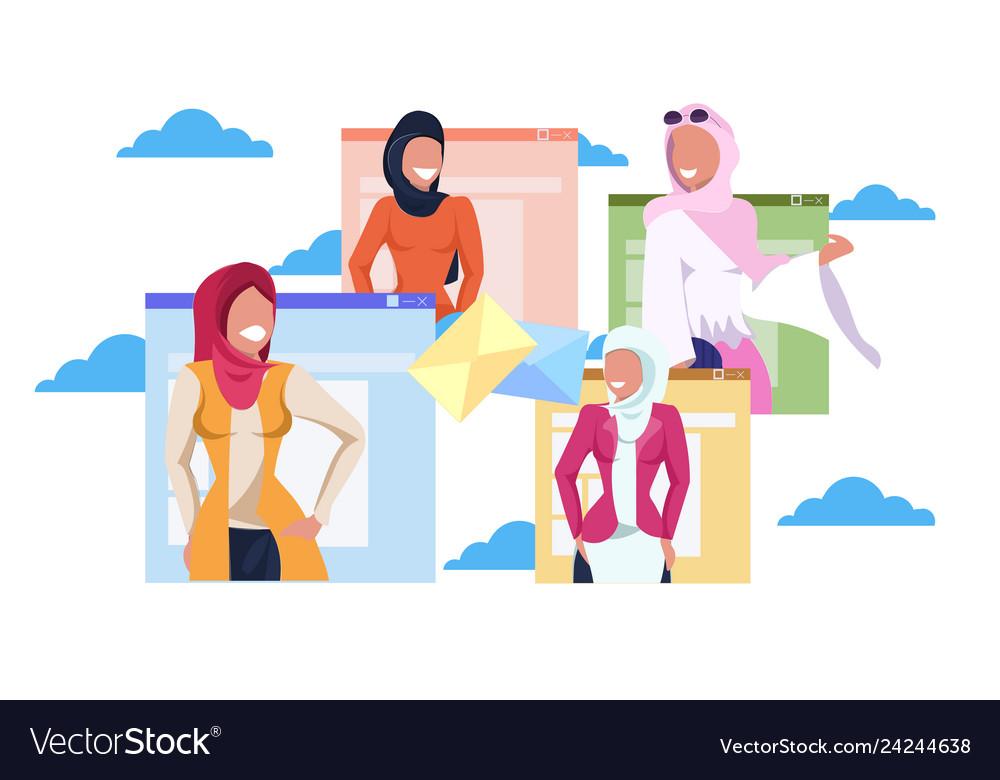 Arab women in hijab online communication letter