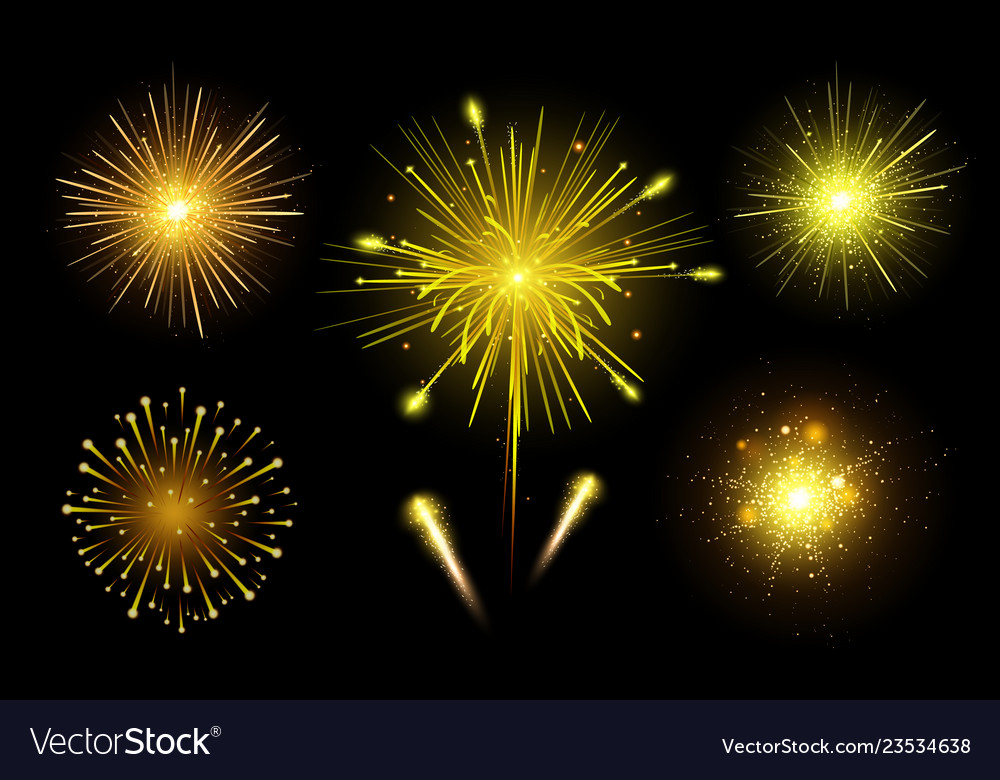 Bright festive colorful fireworks set