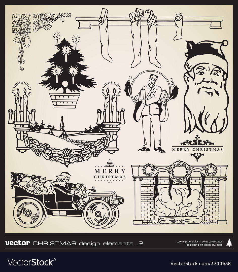 Christmas decorative design elements vector image