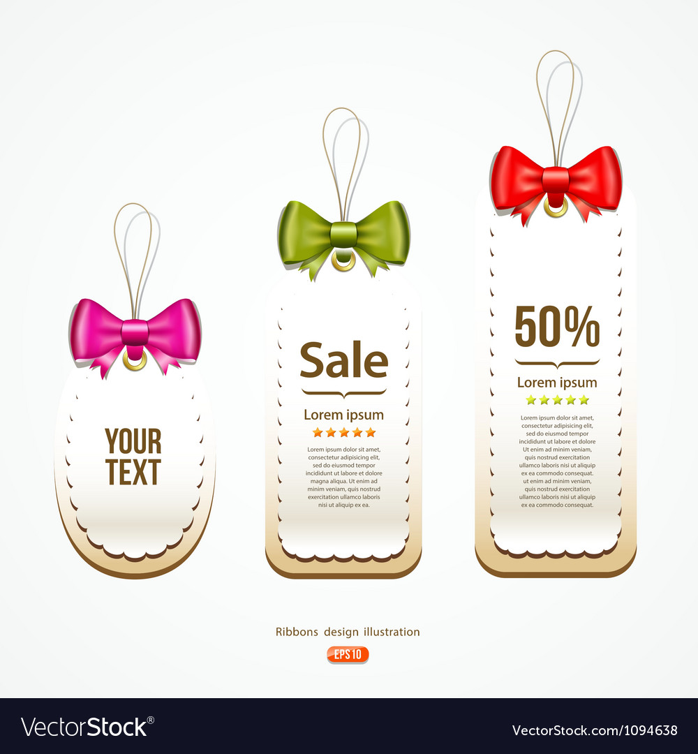 Colorful ribbons Label and Tag design