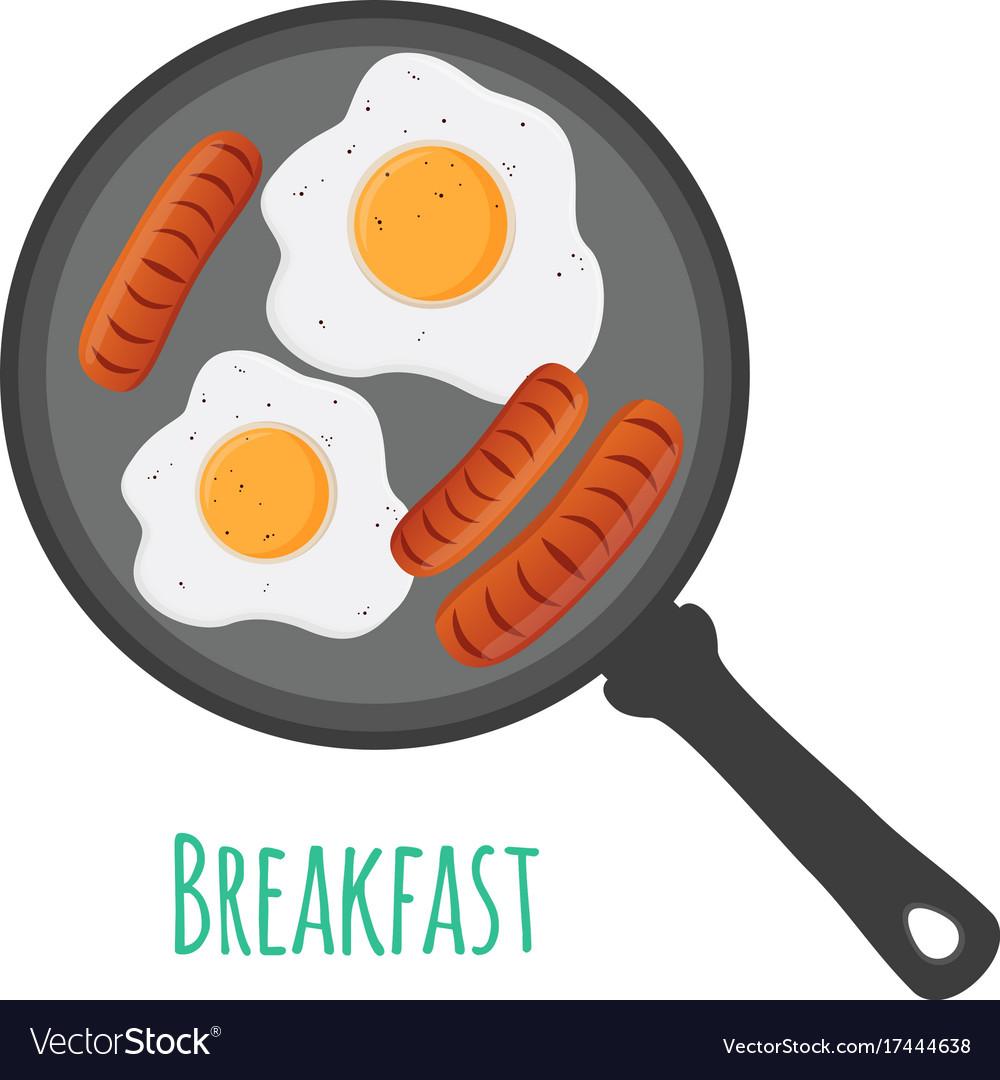Egg sausages on pan cartoon flat style