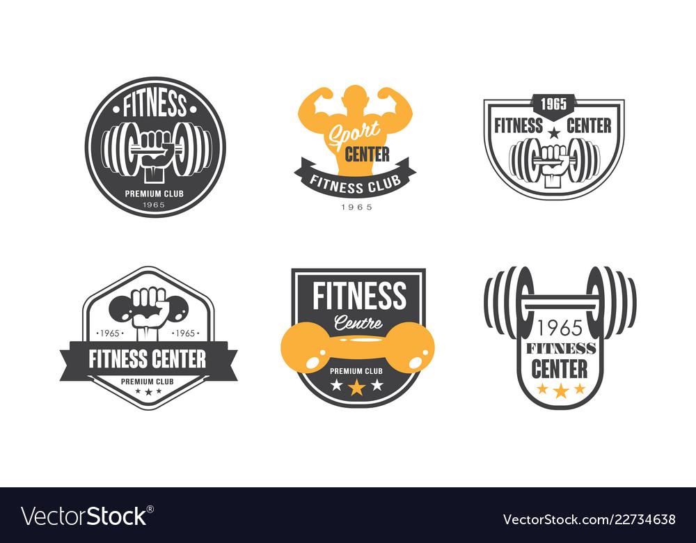 Fitness center logo design set retro emblem