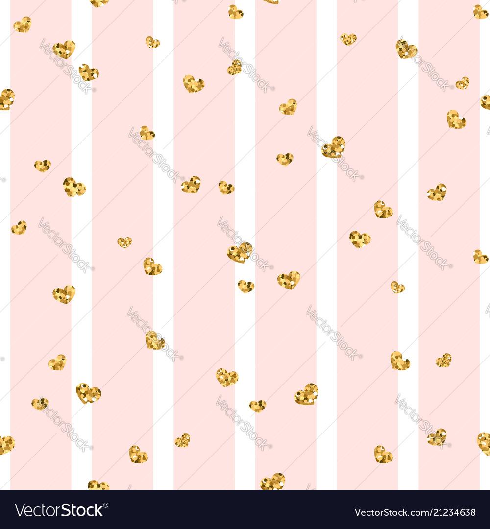 Gold heart seamless pattern pink-white geometric