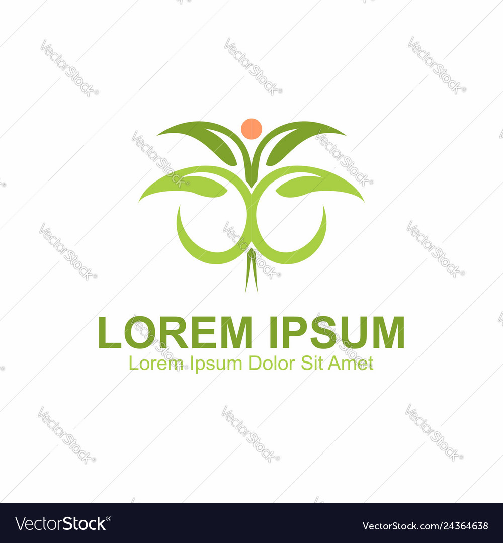 Green leaves vitruvian concept logo template