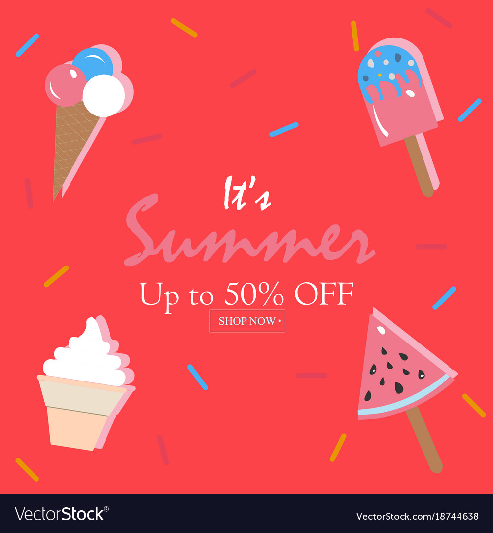 Hello Summer Holiday Card Up To 50 Off Vector Image