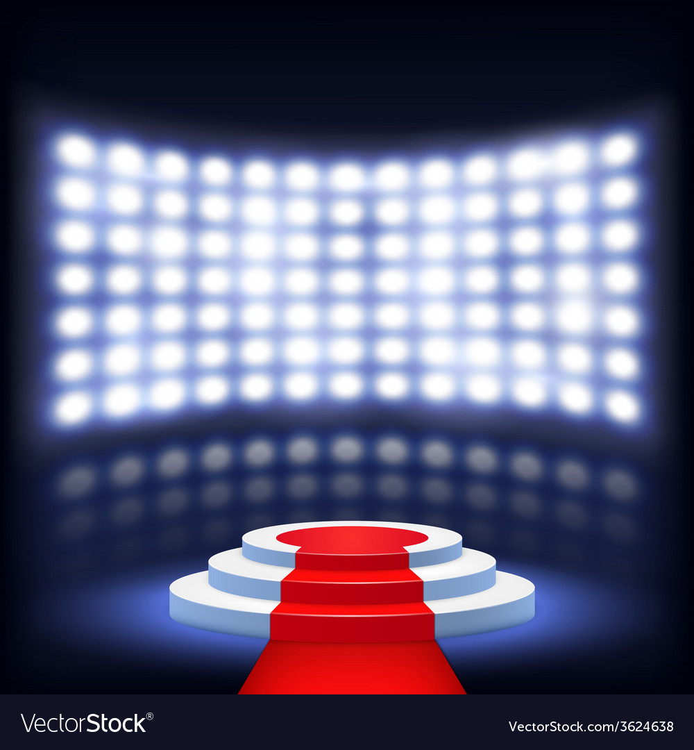 Illuminated Podium For Ceremony With Red Carpet vector image