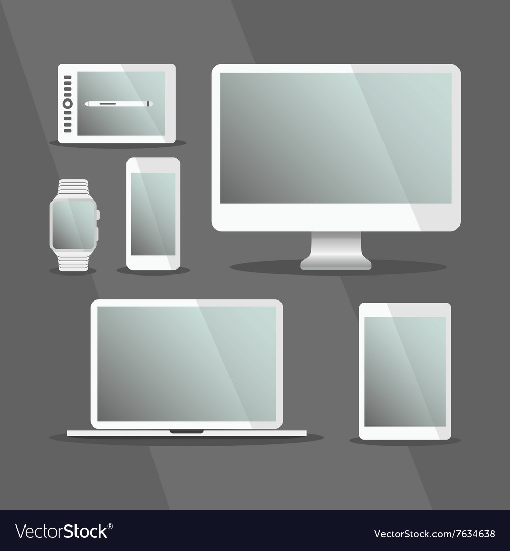 Modern Digital Devices set with white frames