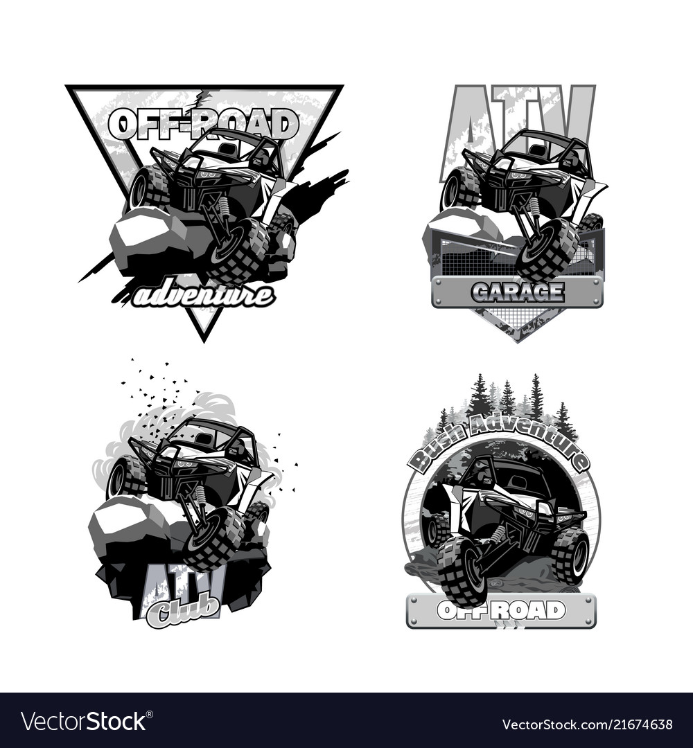 Off-road atv buggy black and white logo