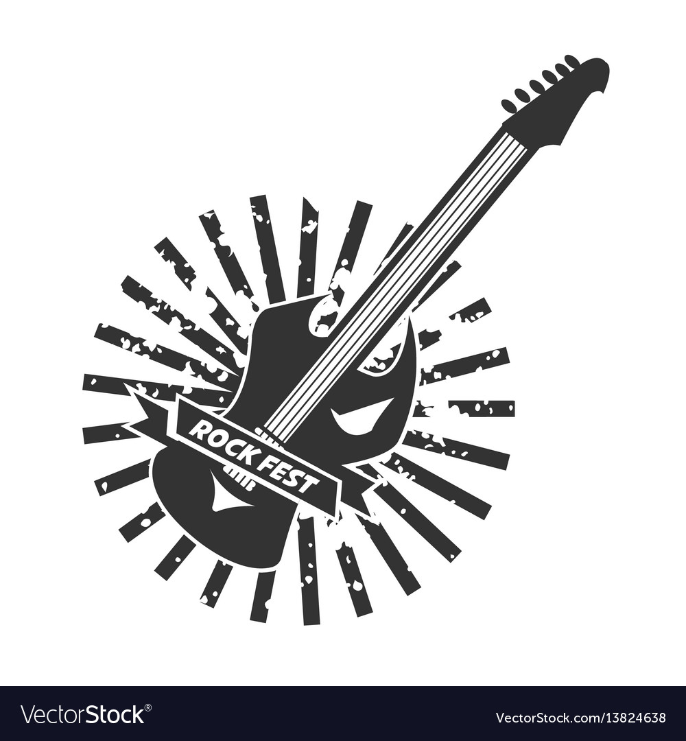 Rock fest logotype with colorless guitar on white