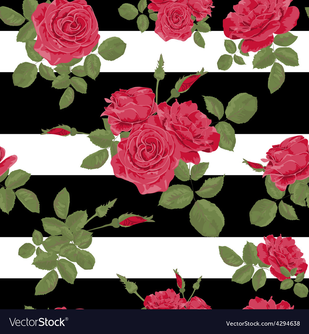 Seamless flower red roses pattern with horizontal