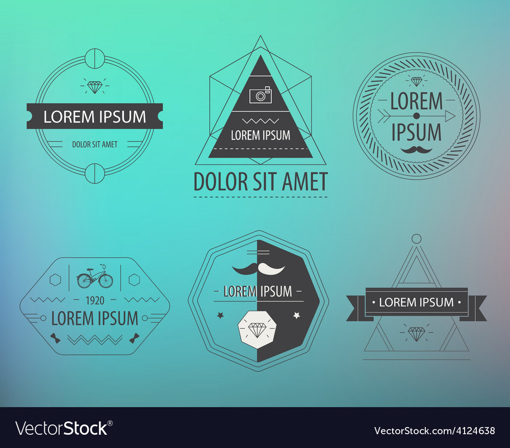 Set hipster modern labels icons vector