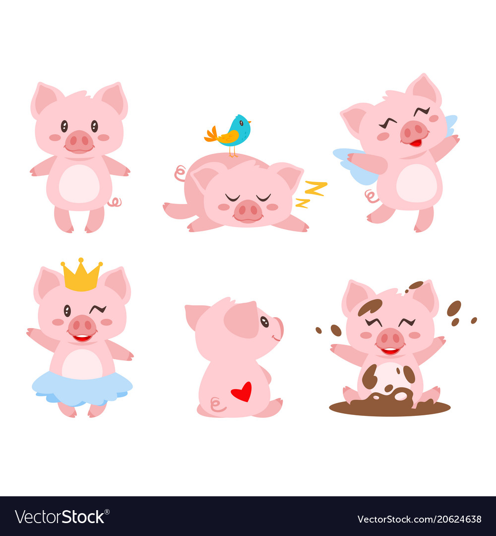 set of cute pink pig royalty free vector image