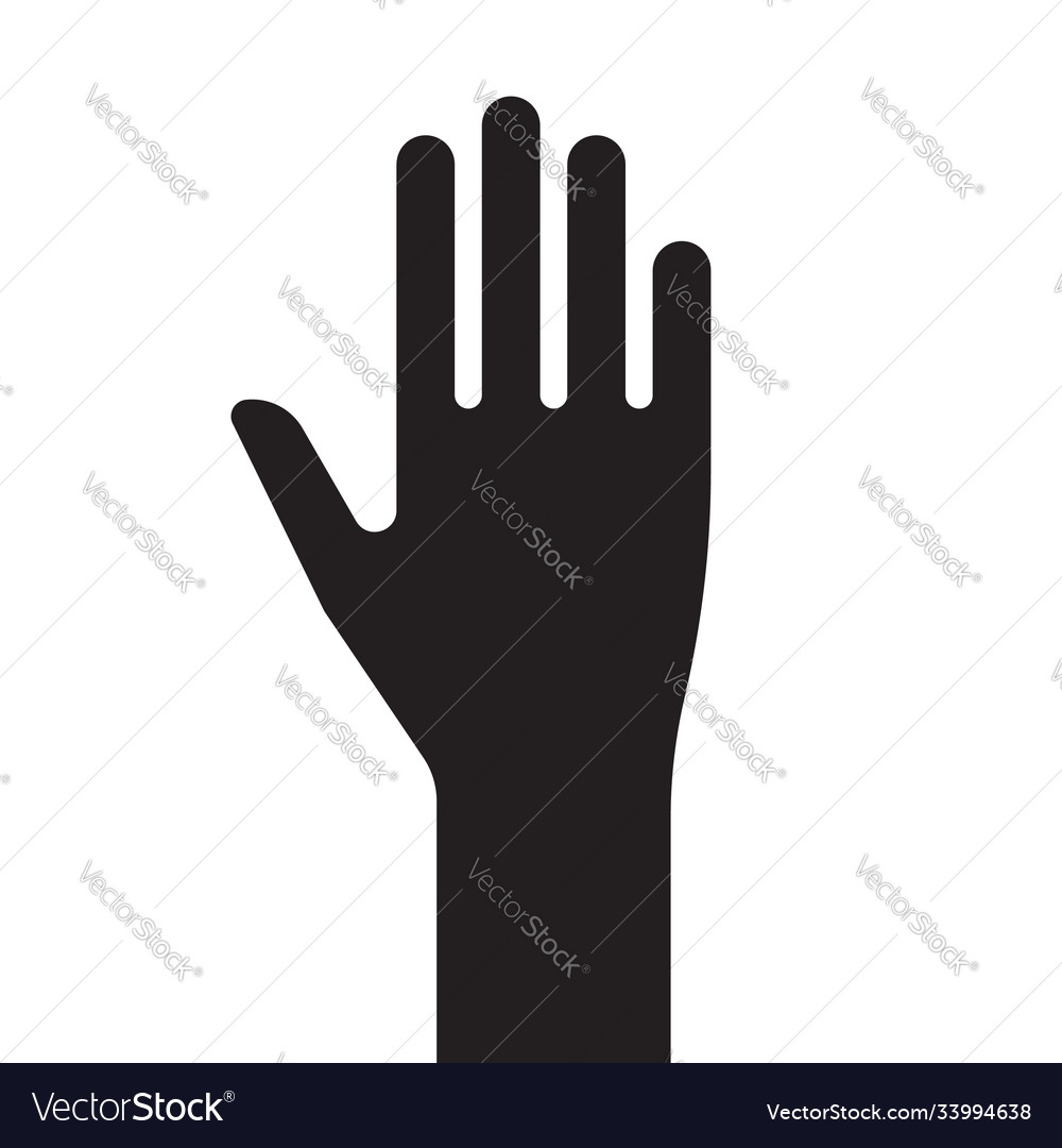 Sign male hand black and white silhouette